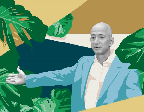 Jeff Bezos questions everything illustration by modern8